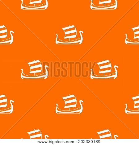 Medieval boat pattern repeat seamless in orange color for any design. Vector geometric illustration