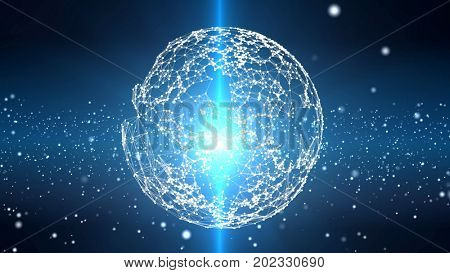 Plexus sphere in a 3D particles field. Blue futuristic technology and science abstract background. Depth of field settings. 3D rendering.
