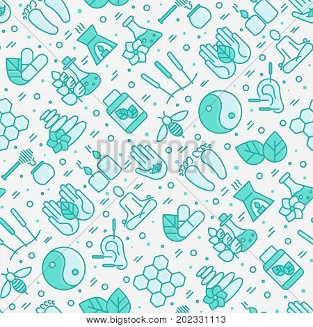 Alternative medicine seamless pattern with thin line icons. Vector illustration for yoga, acupuncture, wellness, ayurveda, chinese medicine, holistic center.
