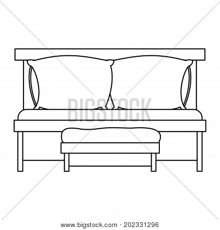 sofa bed with double pillows and wooden chair sketch silhouette on white background vector illustration