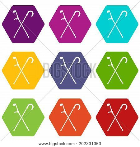 Walking cane icon set many color hexahedron isolated on white vector illustration