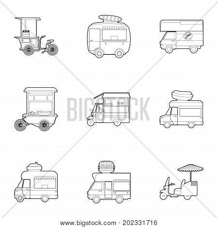 Street food truck icons set. Outline set of 9 street food truck vector icons for web isolated on white background