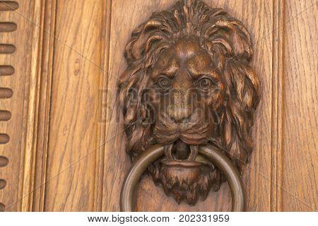 Door Handle On The Front Door Of The Italian House.