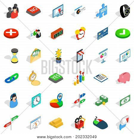 Choice icons set. Isometric style of 36 choice vector icons for web isolated on white background