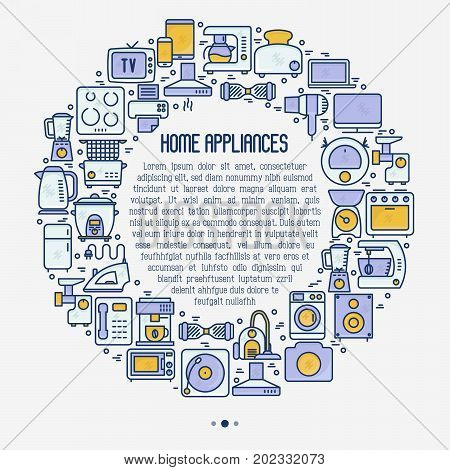 Home appliances concept in circle with thin line icons: refrigerator, coffee machine, microwave, fryer and place for text. Household vector illustration for banner, web page, print media.