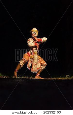 HanumanArt culture Thailand Dancing in masked Khon Hanuman in Literature Ramayana.