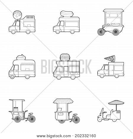 Food vehicle icons set. Outline set of 9 food vehicle vector icons for web isolated on white background