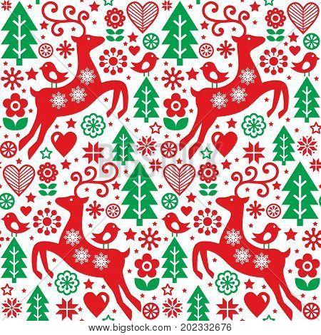 Christmas folk red and green seamless vector pattern, Scandinavian folk art, reindeer, birds and flowers decoration, wallpaper