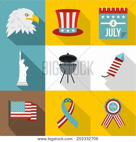 Fourth of July day icon set. Flat style set of 9 fourth of July day vector icons for web design