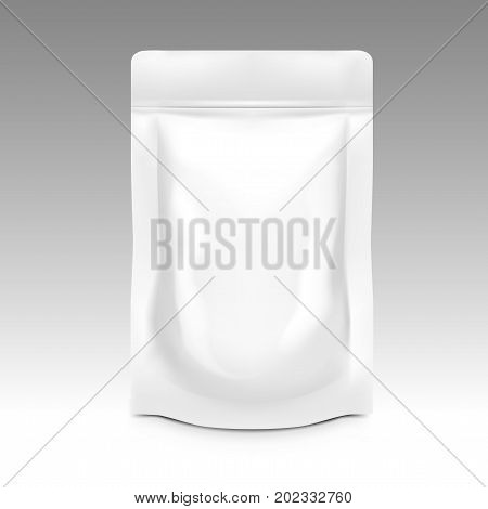 White Blank Pouch With Zipper. Pack For Sauce, Mayonnaise Or Ketchup. EPS10 Vector