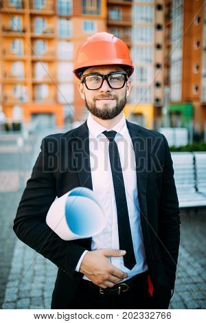 Portrait Of Handsome Architect On Construciton Site Check Documents And Business Workflow On New Bui