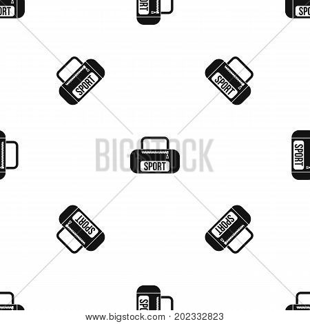 Sports bag pattern repeat seamless in black color for any design. Vector geometric illustration