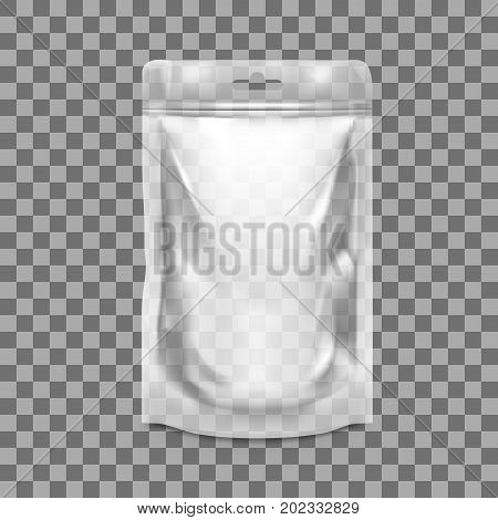 Transparent Blank Pouch With Zipper. Pack For Sauce, Mayonnaise Or Ketchup. EPS10 Vector