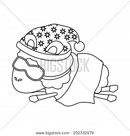 sheep animal with sleeping cap and sleep mask wrapped in a blanket sketch silhouette on white background vector illustration