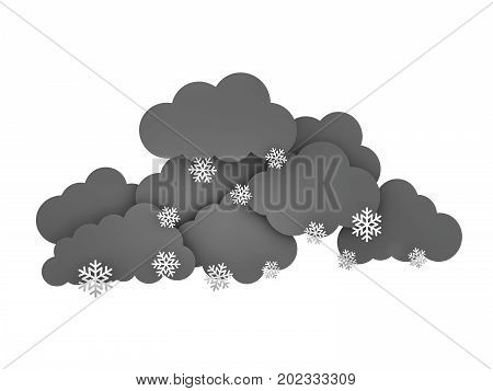 Rainclouds with Snowflakes on white background. 3d illustration.