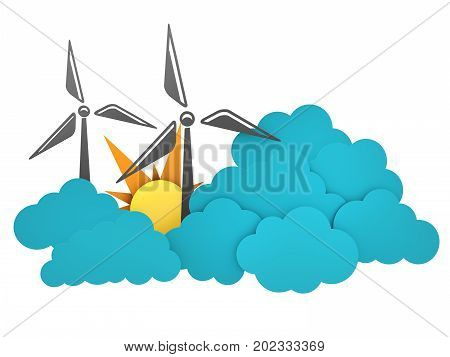 Windmill flat design 3d illustration, isolated withe background.