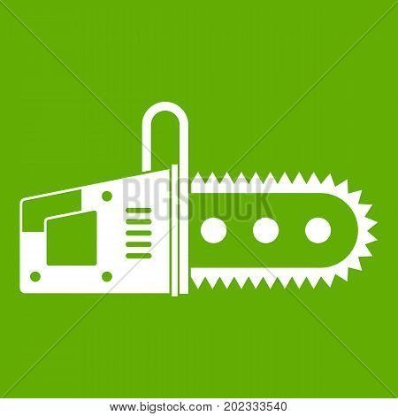 Chainsaw icon white isolated on green background. Vector illustration