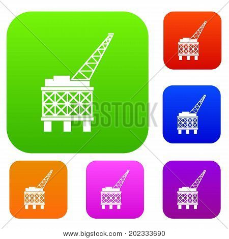 Oil platform set icon in different colors isolated vector illustration. Premium collection