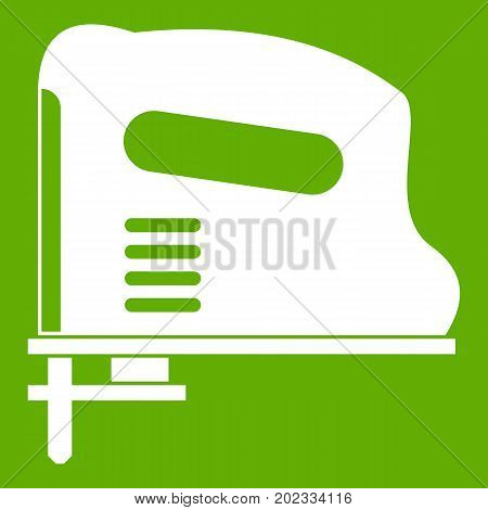 Pneumatic gun icon white isolated on green background. Vector illustration