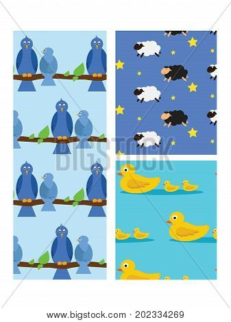 Animal seamless pattern Birds on branch and sheep jumping in a dream or family of duck in water