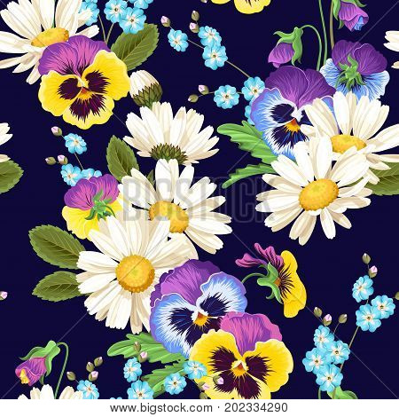 Colorful pansies and camomiles vector seamless background