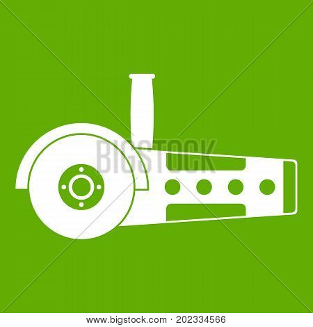 Circular saw icon white isolated on green background. Vector illustration