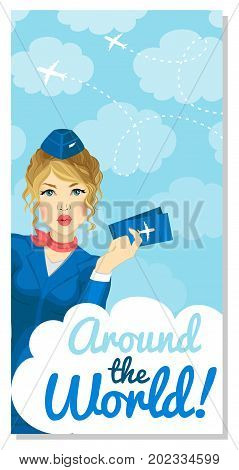 Stewardess with tickets in her hand winks with her mouth open. Banner, postcard, booklet, advertisement, poster.