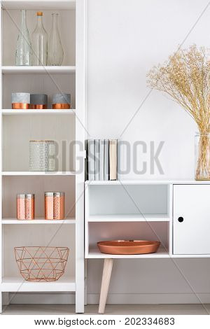 White Cupboard With Copper Plate