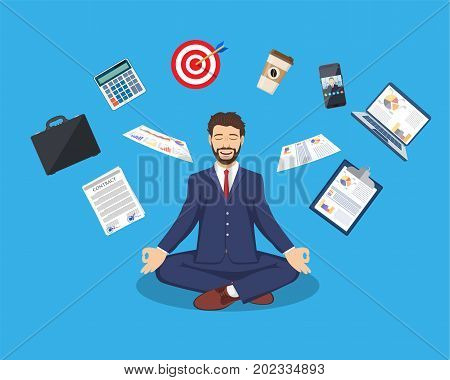 businessman meditating, time management, stress relief and problem solving concepts, man thinking about business in lotus pose. Vector illustration in flat style