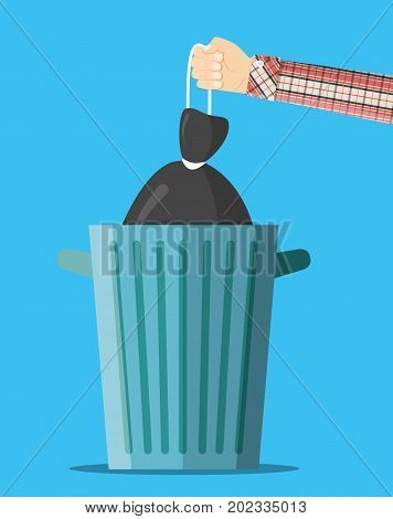 Huge waste trash can. Hand with bag for garbage. Metal bucket. Garbage recycling and utilization equipment. Waste management. Vector illustration in flat style