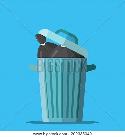Huge waste trash can. Bin full of plastic bags with garbage. Metal bucket. Garbage recycling and utilization equipment. Waste management. Vector illustration in flat style