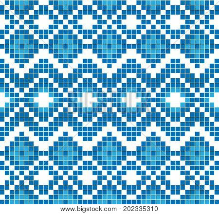 Seamless pattern or ornament of embroidery. Abstract mosaic of blue color. Vector