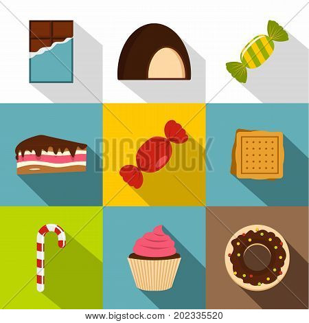 Sweet desserts icon set. Flat style set of 9 sweet dessert vector icons for web design