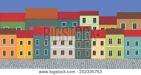 Illustration street and city houses.  Illustration street and city houses.