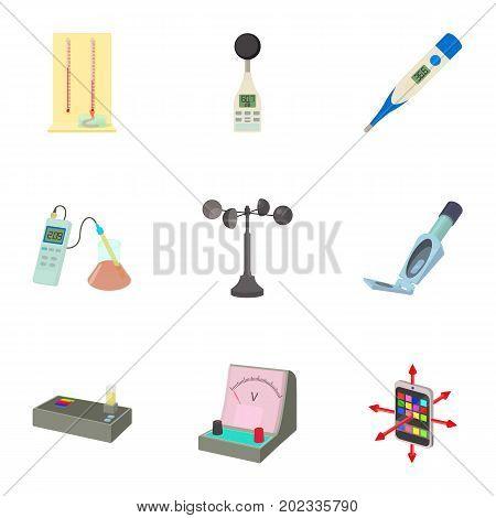 Electronic measuring device icons set. Cartoon set of 9 electronic measuring device vector icons for web isolated on white background
