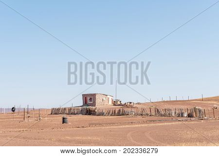 SPRINGBOKWASSER NAMIBIA - JUNE 28 2017: A house at Springbokwasser at the Eastern gate of the Skeleton Coast National Park in Namibia
