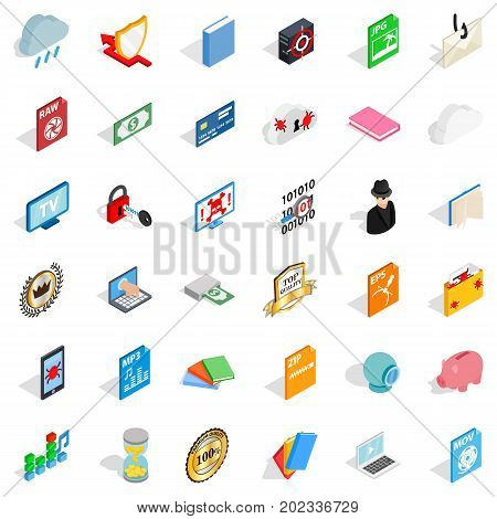 Document icons set. Isometric style of 36 document vector icons for web isolated on white background