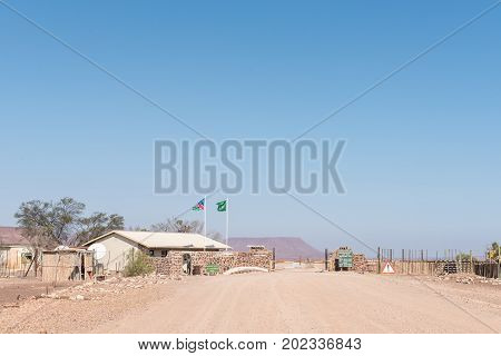 SKELETON COAST NATIONAL PARK NAMIBIA - JUNE 28 2017: The Springbokwasser gate of the Skeleton Coast National Park in Namibia