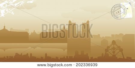 bruxelles city skyline vector illustration design cityscape