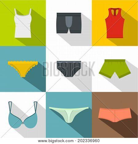 Female linen icon set. Flat style set of 9 female linen vector icons for web design