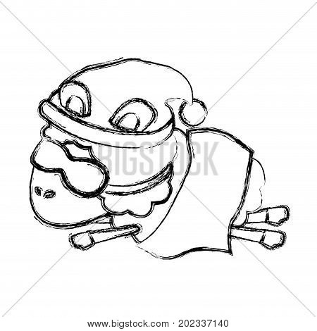 sheep animal with sleeping cap and sleep mask wrapped in a blanket blurred silhouette on white background vector illustration