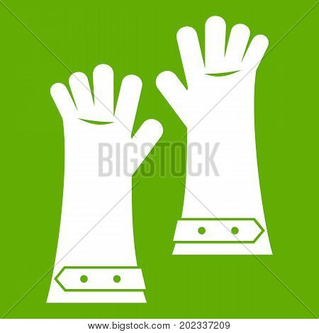 Heat resistant gloves for welding icon white isolated on green background. Vector illustration