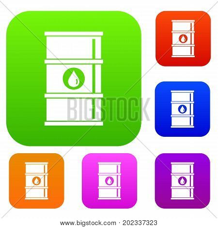 Oil barrel set icon in different colors isolated vector illustration. Premium collection
