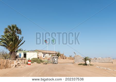 SKELETON COAST NATIONAL PARK NAMIBIA - JUNE 28 2017: The reception offices at the Ugabmund Gate of the Skeleton Coast National Park of Namibia