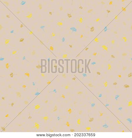 Ginkgo Leaves. Grunge Texture. Seamless Pattern.