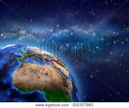 Planet Earth In Star Field