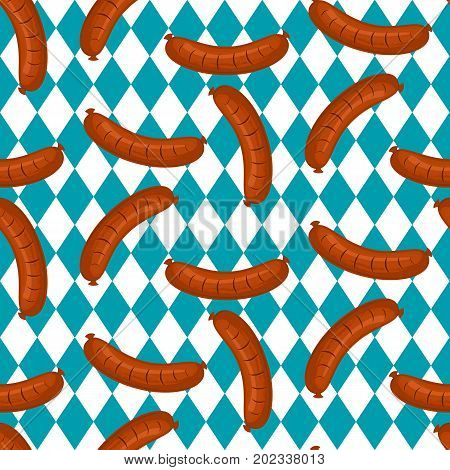 Hot dog, vector seamless pattern with cute characters fast food. Stock vector. Oktoberfest