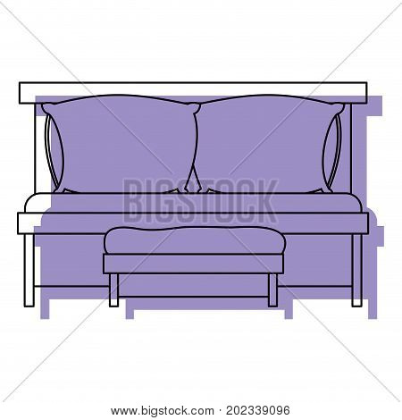 sofa bed with double pillows and wooden chair purple watercolor silhouette on white background vector illustration