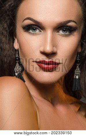 female portrait in the studio the glare from backlight