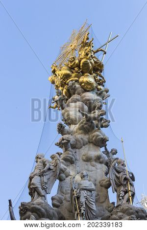 Architectural elements of the plague column in the center of Vienna in Austria